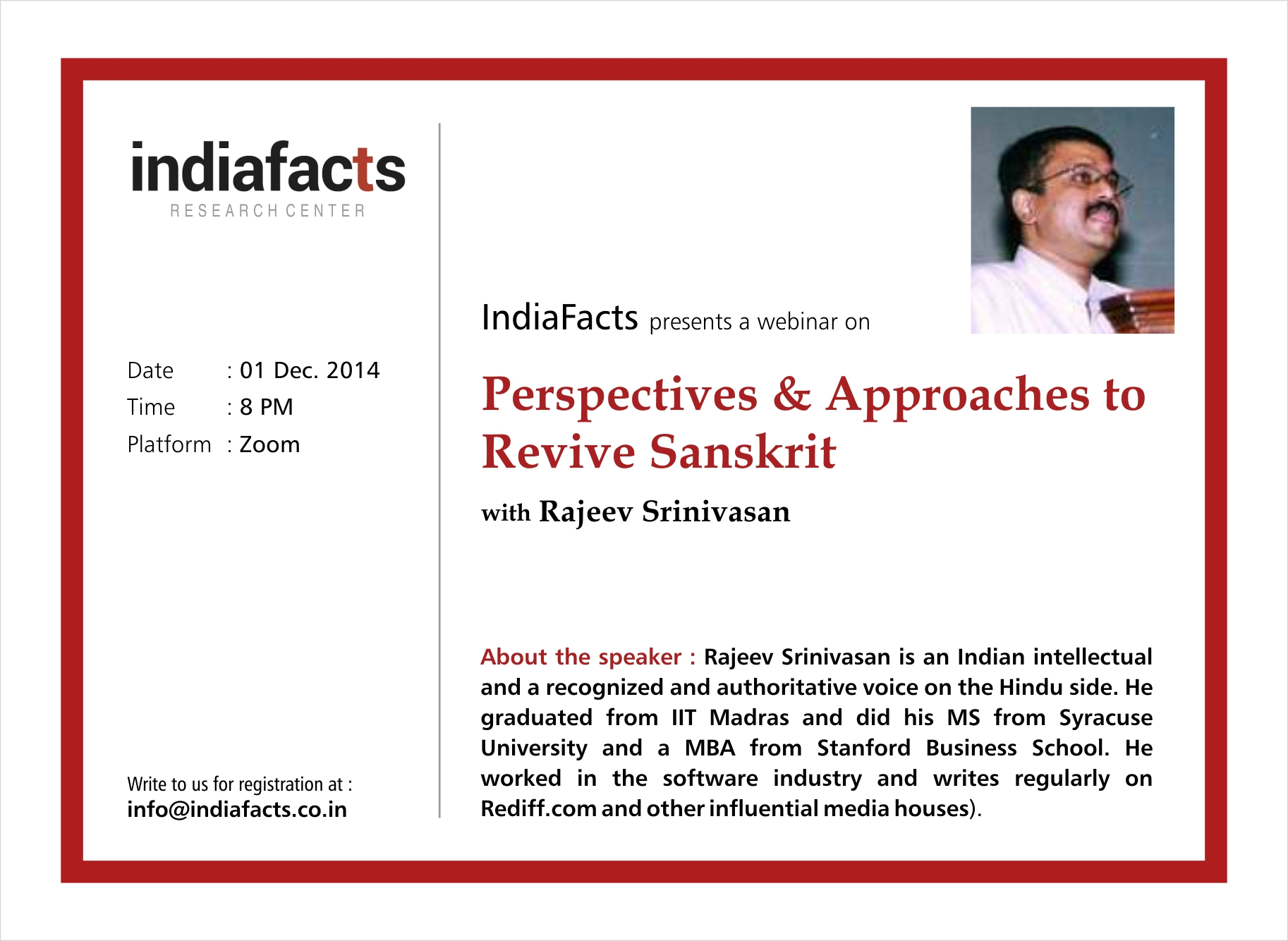 IndiaFacts Webinar: Perspectives on Reviving Sanskrit