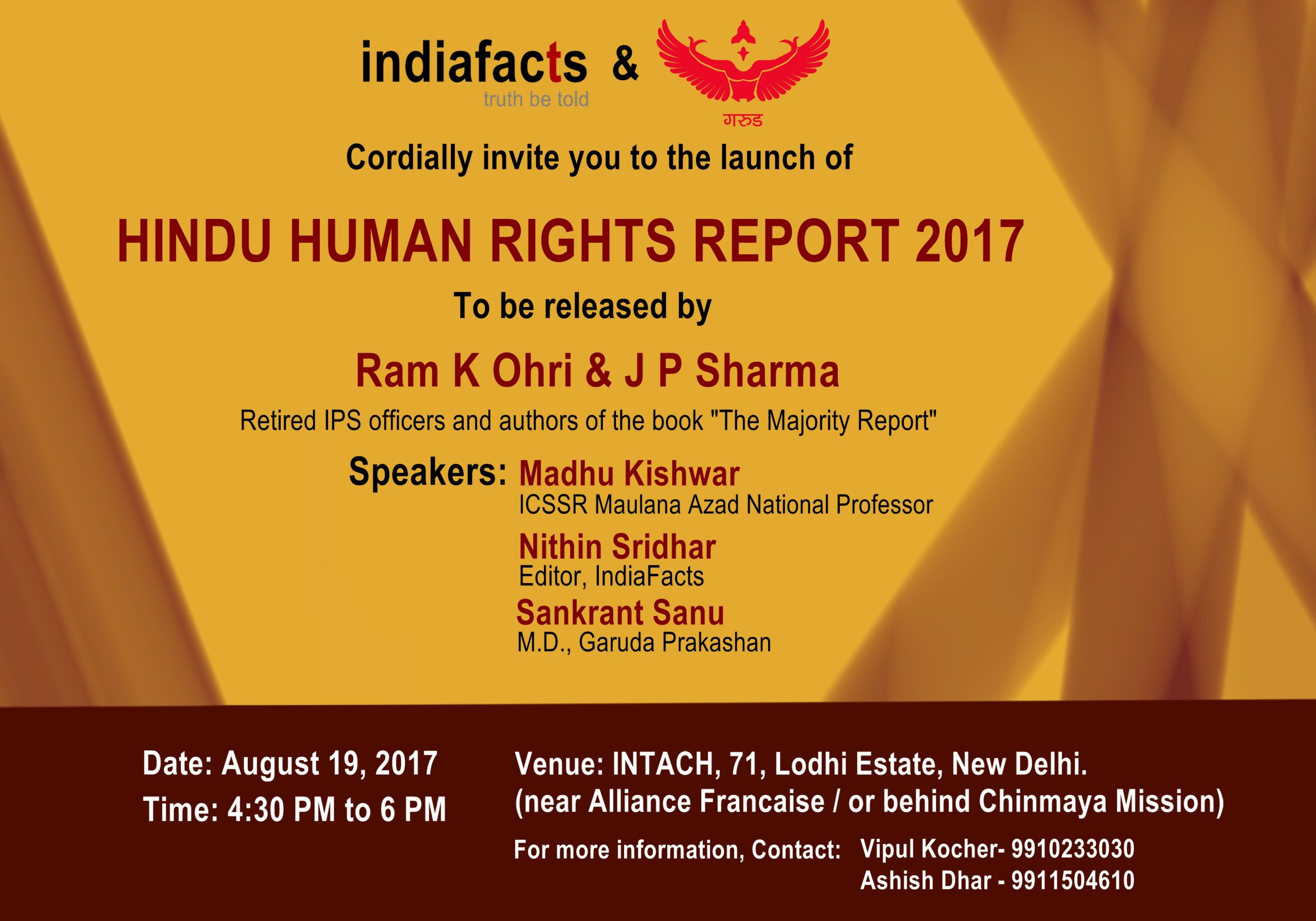 IndiaFacts to Launch Hindu Human Rights Report 2017 on August 19