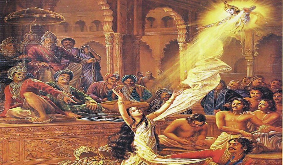Who is disrobing Draupadi?