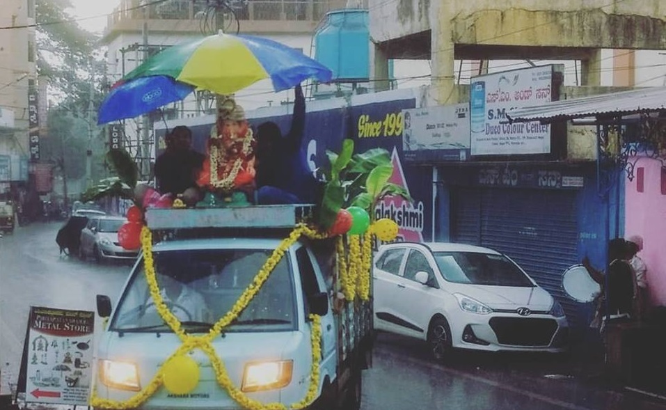 A Ganesha Visarjan Procession in Mysore